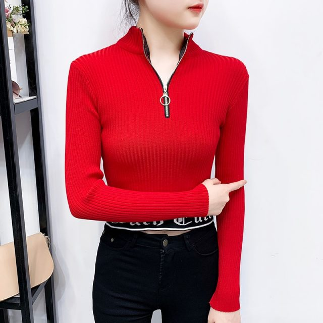 Sexy Turtleneck Zipper Sweaters Women Long Sleeve Girls Tops 2019 New Elegant Knitted Outerwear Short Pullovers Sweater BZY015