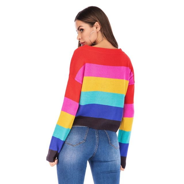 Rainbow Stripe Sweater Women Loose Warm 2019 New Autumn Winter Cashmere Knit Sweaters Female Pullover Tricot Jersey Tops SAY001