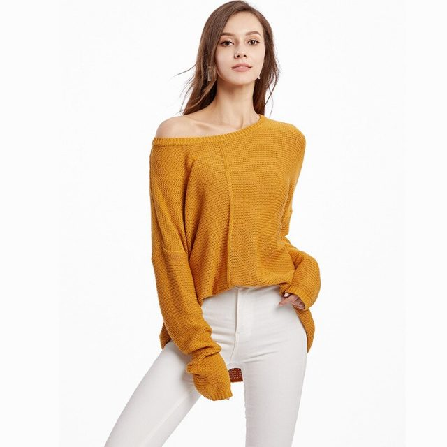 New Autumn Winter Oversized Women Pullovers Sweaters Loose Knitted Sweaters long Sleeve Soft Jumper Jersey For Ladies SAY003