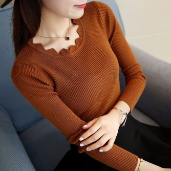 2019 Winter Knitting Sweater Pullovers Women Long Sleeve Tops Knitted Sweater Chic Woman Clothes Female Casual Streetwear BZY014