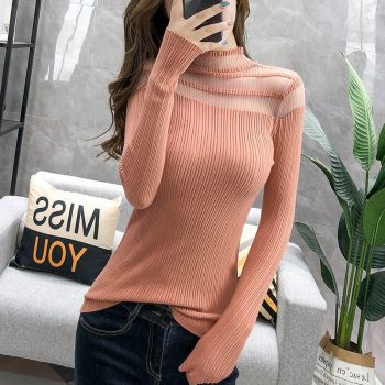 2019 New Autumn Women's Pullovers Sweater Knitted Elasticity Casual Jumper Fashion Slim Turtleneck Warm Female Sweaters BZY013