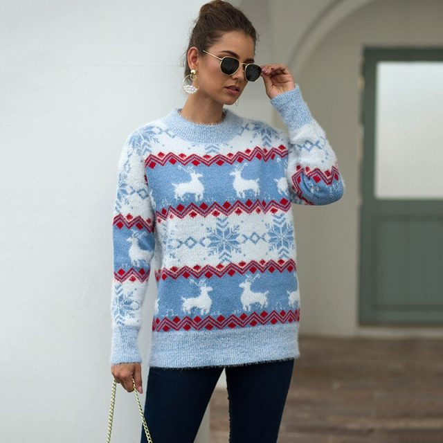 New Khaki Cashmere Sweater Women Autumn Winter Ugly Christmas Sweater Jumper 2019 Stripe Plus Size Pink Pullover Femme BMY007