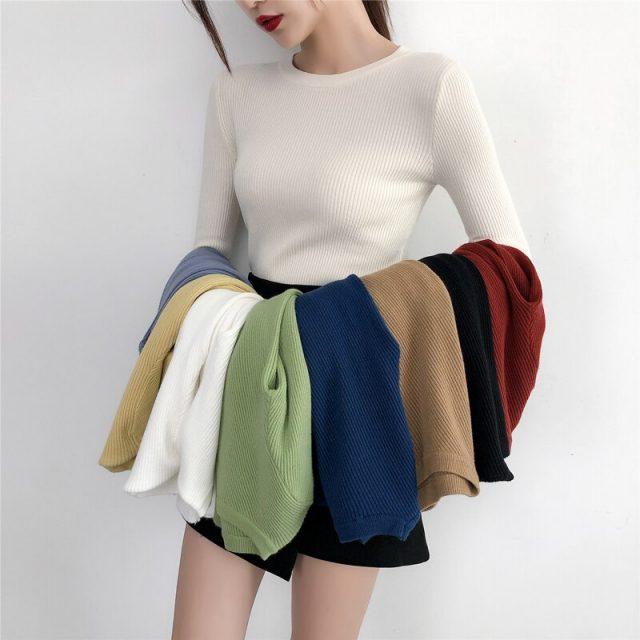 Elegant Knitted Women's Thin Sweater Sexy O Neck Soft Warm Long Sleeve Sweater Women Autumn 2019 Womens Jumper Pull Femme BMX013
