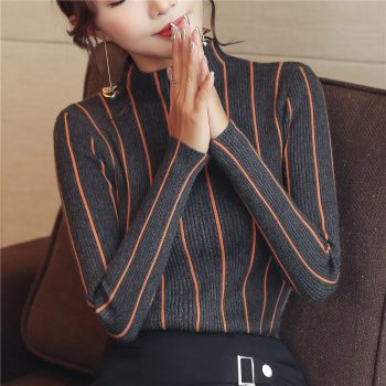 2019 Winter Thick Sweater Striped Turtleneck Pullover Women Red Korean Ladies Office Knitted Sweater Black Top Pull Femme ZX006