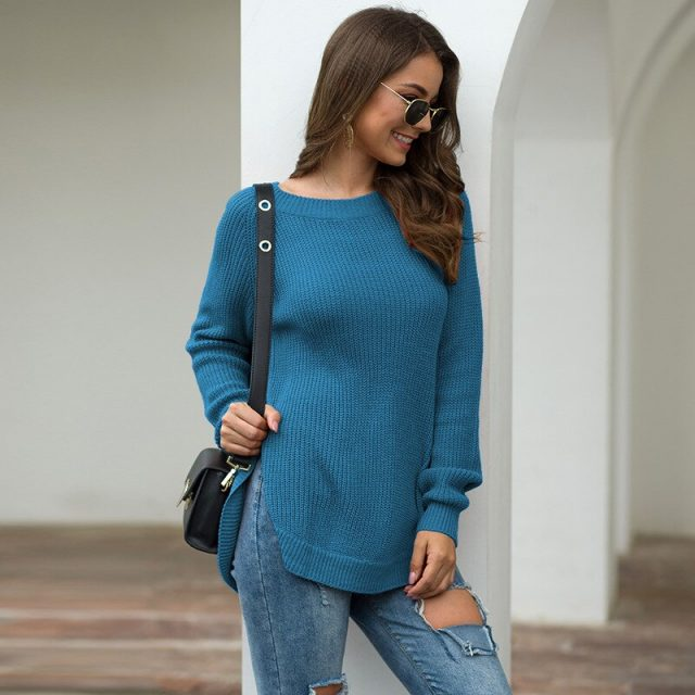 Sweater Women 2019 Autumn Winter New Solid Color Base Sweater Long Sleeve O Neck Fashion Loose Slim Sweater Female Tops BMY009