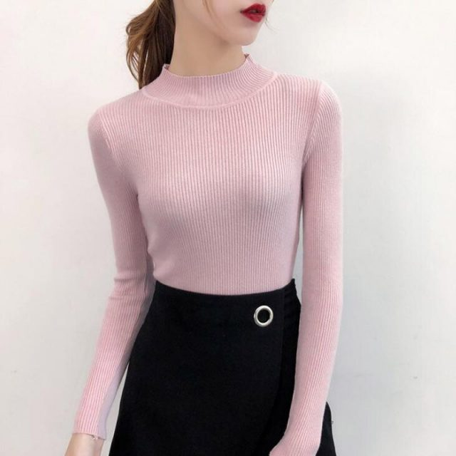 Factory direct sales 2019 Autumn And Winter Long sleeve Half high collar Sweater Solid color Slim fit Female Shirt MKY028