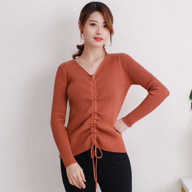 New Women Knitted Tops Lapel Drawstring Sweater Long Sleeve Elastic Tight-fitting Bottoming Solid Tops Autumn Clothes TRF001