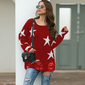Autumn Girls Soft Brief Sweaters Fall Women Solid Casual O-Neck Stars Print Shoulder Pocket Knitted Sweater Knitwear Tops BMY010