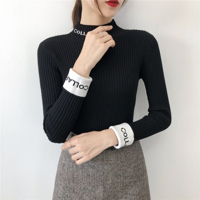New Autumn Winter Women Ladies Long Sleeve Boat Neck Slim Knitted Sweet Sweater Top Femme Korean Pull Tight Shirts Jumper YB006