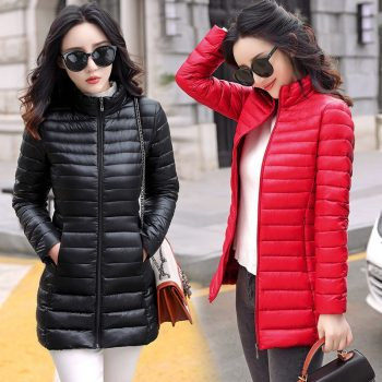 Autumn Winter Women Basic Jacket Coat Female Slim Hooded Brand Cotton Coats Casual  Female Medium-Long Jackets Jaqueta Feminina