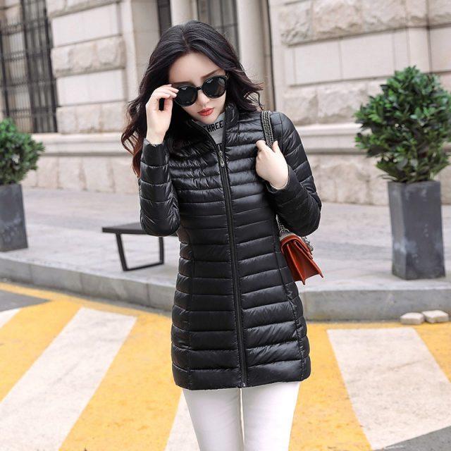 Autumn Winter Women Basic Jacket Coat Female Slim Hooded Brand Cotton Coats Casual  Female Medium-Long Jackets Jaqueta Feminina