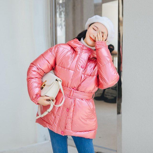 Women Slim Belt Winter Parkas Jacket Coat 2019 New Glossy Warm Women Hooded Coat Solid Soft Cotton Padded Jackets Female