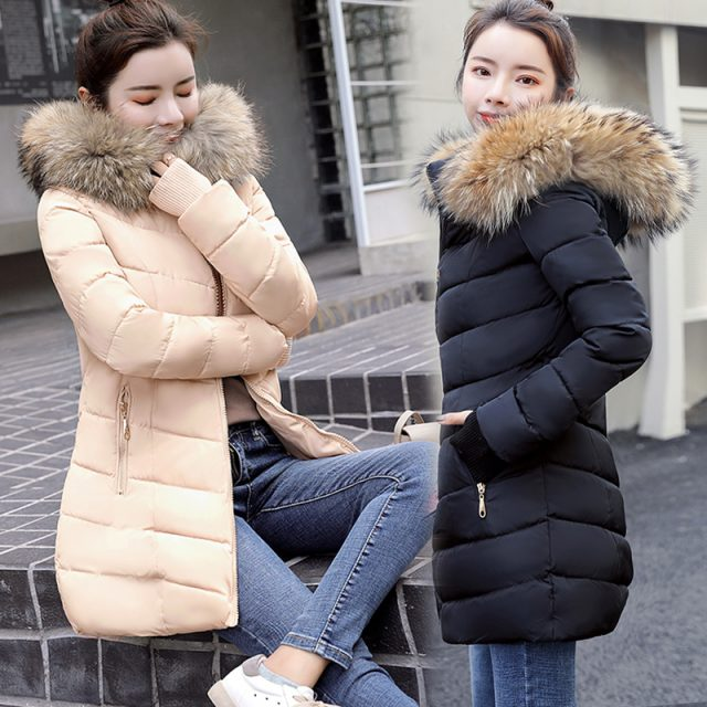 S-3XL Women's down jacket Casual Cotton women's winter jacket Hoodie Long Parkas women Fur Collar Warm female jacket Coat