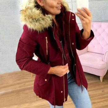 2019 Fashion New Brand Coat Women Winter Hooded Zipper Coats Casual Femme Thickening Cotton Ladies Winter Jacket with Fur Collar