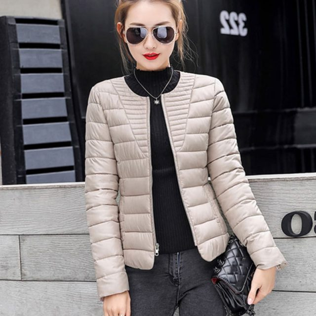 Winter Ultralight Cotton Women's Down Jackets Slim Zipper Long Sleeves Female Quilted Jacket 2019 All-Match Warm Ladies Parkas