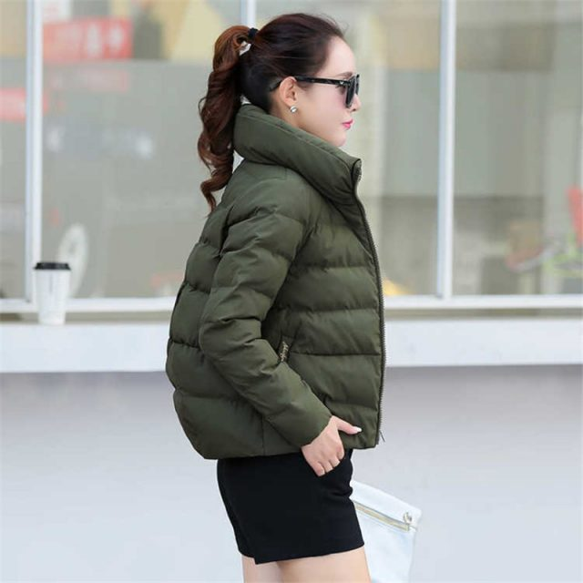 Women Short Jacket Parkas Mujer 2019 Winter Warm Jacket Coat Fashion Autumn Solid Warm Thicken Padded Down Parka Female Outwear