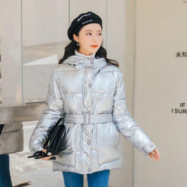 Glossy Warm Women Hooded Coat Solid Soft Cotton Padded Jackets Female Women Slim Belt Winter Parkas Jacket Coat 2019 New