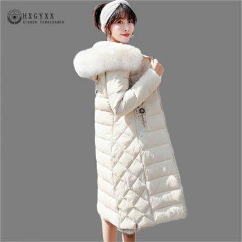 2019 Warm Puffer Jacket Woman Winter Parka Female Cotton Wadded Coat Plus Size Long Fur Collar Slim Outwear Snow Clothing Okd491