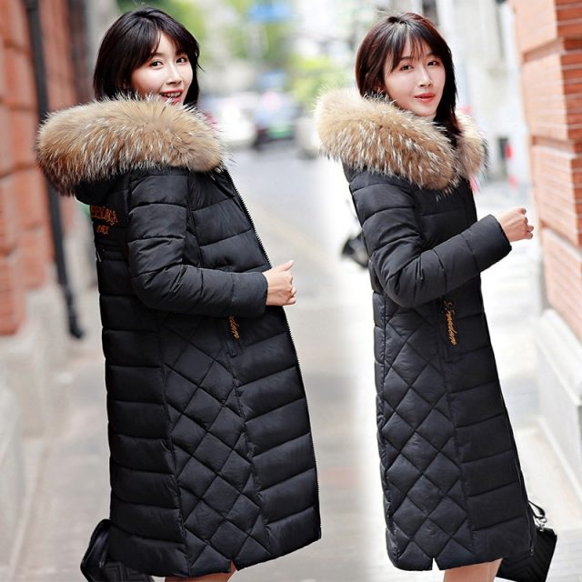 2019 Warm Puffer Jacket Woman Winter Parka Female Cotton Wadded Coat Plus Size Long Fur Collar Slim Outwear Snow Clothing Okd491