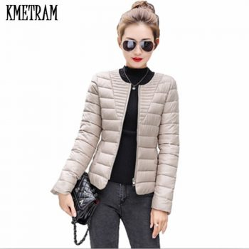 KMETRAM 2019 Fashion Ultralight Parka Winter Jacket Women Unique Style Women's Jackets Short Warm Thin Winter Coat Women HH330