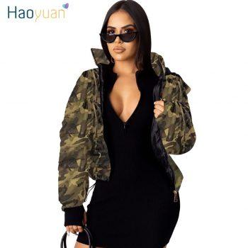 HAOYUAN Camo Leopard Print Winter Jacket Women Fall Clothing Sexy Warm Bubble Coat Plus Size Outwear Thick Parka Puffer Jacket