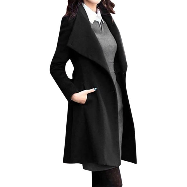 Free Ostrich Women's Fashion Winter Lapel Wool Coat Trench Jacket Long Sleeve Overcoat Outwear 91127