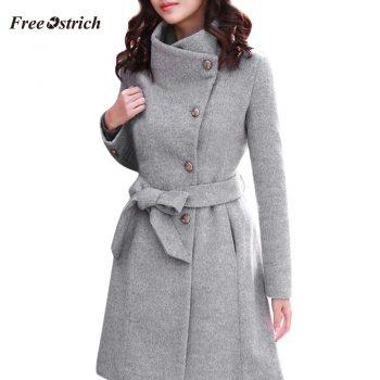 Free Ostrich Women's Fashion Winter Lapel Wool Coat Trench Jacket Long Sleeve Overcoat Outwear 91127