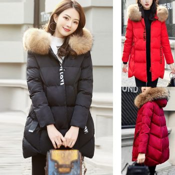 Fashion Women Winter Warm Cotton Hooded Winter Jacket Long-Sleeved Coat Women Parkas Women