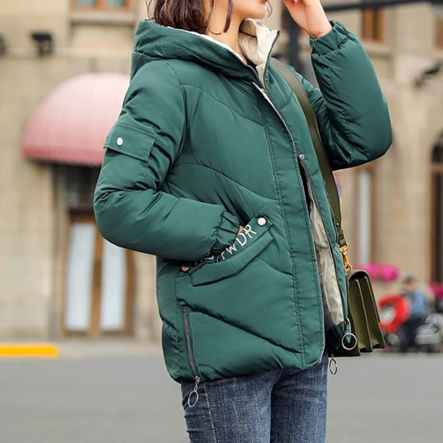 Thicken Women Short Hooded Parka Coat Winter Warm Yellow Jackets Parkas Female Cotton Padded Puffer Casual Coat For Woman