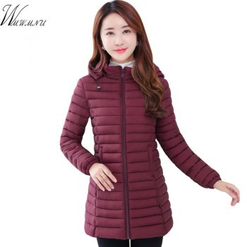 Fashion Plus Size 6XL Medium-Long Jacket For Women Ultralight Winter Hooded Cotton Padded Coat Ladies Casaco Feminina Inverno