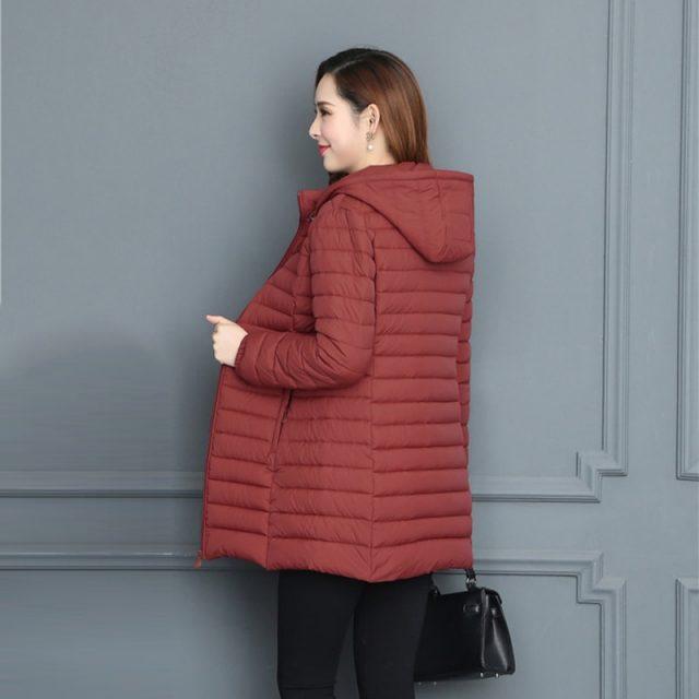 Fashion Plus Size 6XL Medium-Long Jacket For Women Ultralight Winter Hooded Cotton Padded Coat Ladies Casaco Feminina Inverno
