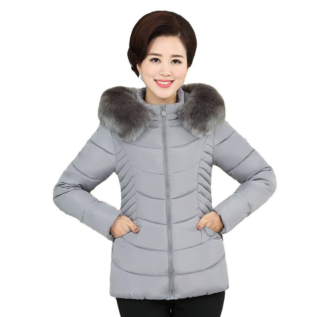 Fur collar short cotton padded coat women hooded plus size 4xl winter jacket casual outwear solid color jaqueta feminina inverno