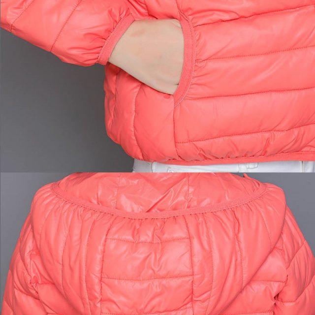 Mom's ultra light Padded Down Cotton parkas Casual Soild Colors plus size Hood overcoat streetwear slim waist short jacket tops