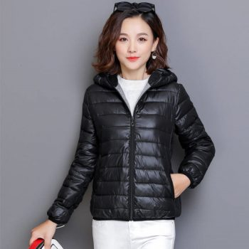 Mom's ultra light Padded Down Cotton parkas Casual Soild Colors plus size Hood overcoat streetwear slim waist short jacket tops