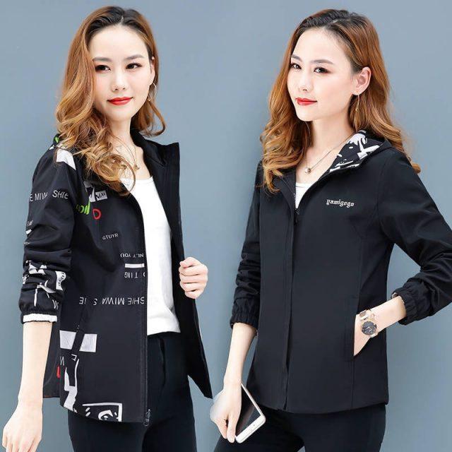 Women's Hooded Printed jacket Summer Causal windbreaker Basic Coats Double sided Sweater Zipper Lightweight Jackets Famale 2XL