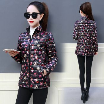 Mom's printed Down Cottoun jacket Fashion streetwear plus size 5XL stand collar puffer Jacket Casual slim waist printed coat