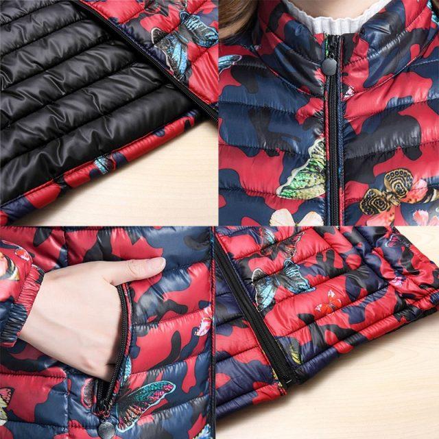 Mom's printed Down Cottoun jacket Fashion streetwear plus size 5XL stand collar puffer Jacket Casual slim waist printed coat