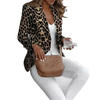 New Blazers Womens Suit Jackets Leopard Print Coats Office Ladies Jacket Casual Female Outerwear Office Lady Suit Blazer