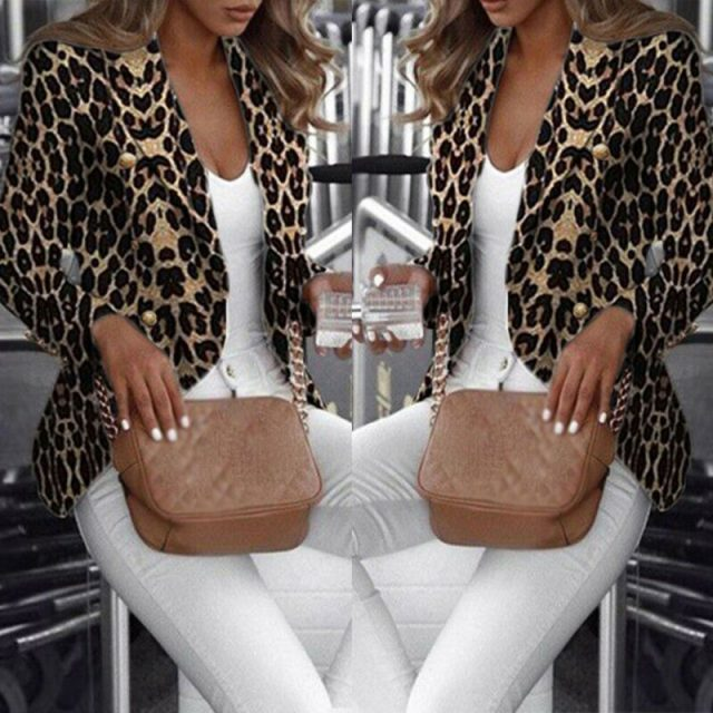 New Blazers Womens Suit Jackets Leopard Print Coats Office Ladies Jacket Casual Female Outerwear Office Lady Suit Blazer