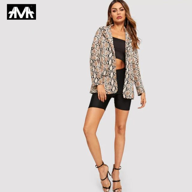 Women Snake Print Long Sleeve Suit Coat 2019 Biker Jacket Outwear Tops women's suit top