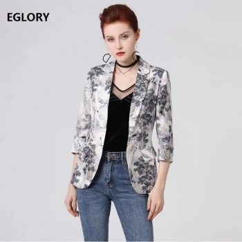 High Quality New 2019 Autumn Fashion Blazer & Suits Women Notched Collar Vintage Jacquard Print Single Button Coat Blazers