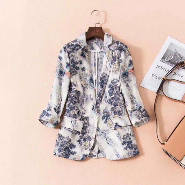High Quality New 2019 Autumn Fashion Blazer & Suits Women Notched Collar Vintage Jacquard Print Single Button Coat Blazers