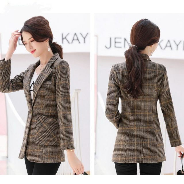 PEONFLY Vintage Office Lady Notched Collar Plaid Women Blazer Single Button Autumn Jacket 2019 Casual Pockets Female Suits Coat