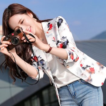 2019 spring and summer new print small suit jacket female Korean fashion casual short paragraph seven sleeves small suit