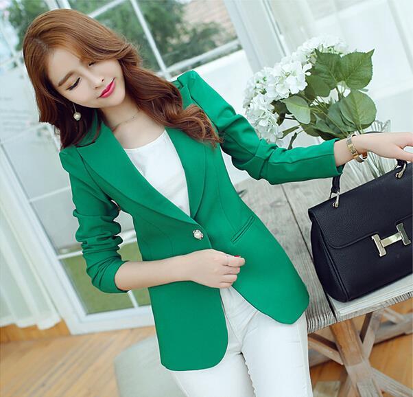 Women Blazers And Jackets Suit 2019 Spring Autumn Jackets Single Button Blaser Female Blue/Black/Green Ladies Blazer Femme