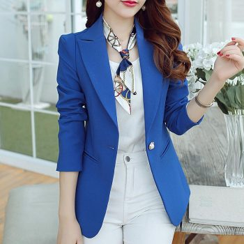 Women Blazers And Jackets Suit 2019 Spring Autumn Jackets Single Button Blaser Female Blue/Black/Green Ladies Blazer Femme
