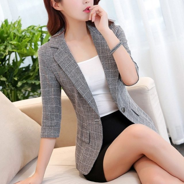 New Autumn One Button Plaid Blazer Women Three Quarter Sleeve Work Jacket Ladies Notched Collar Short Outerwear