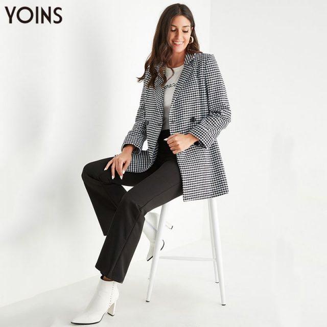 YOINS 2019 Autumn Winter Women Blazers Black Houndstooth Front Button Lapel Collar Long Sleeves Blazer OL Chic blazer feminino