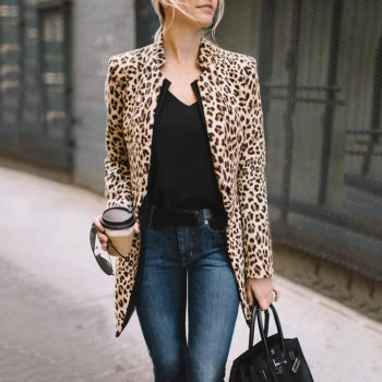2019 New Fashion Women Leopard Print Blazer Women Ladies Jackets Suit Slim Yards Ladies Blazers Work Wear Blazers#D6