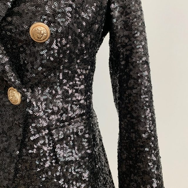 HIGH QUALITY New Fashion 2019 Designer Blazer Jacket Women's Lion Buttons Double Breasted Shimmer Sequined Blazer